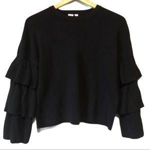 | TWIK | Ruffle sleeve crewneck sweater